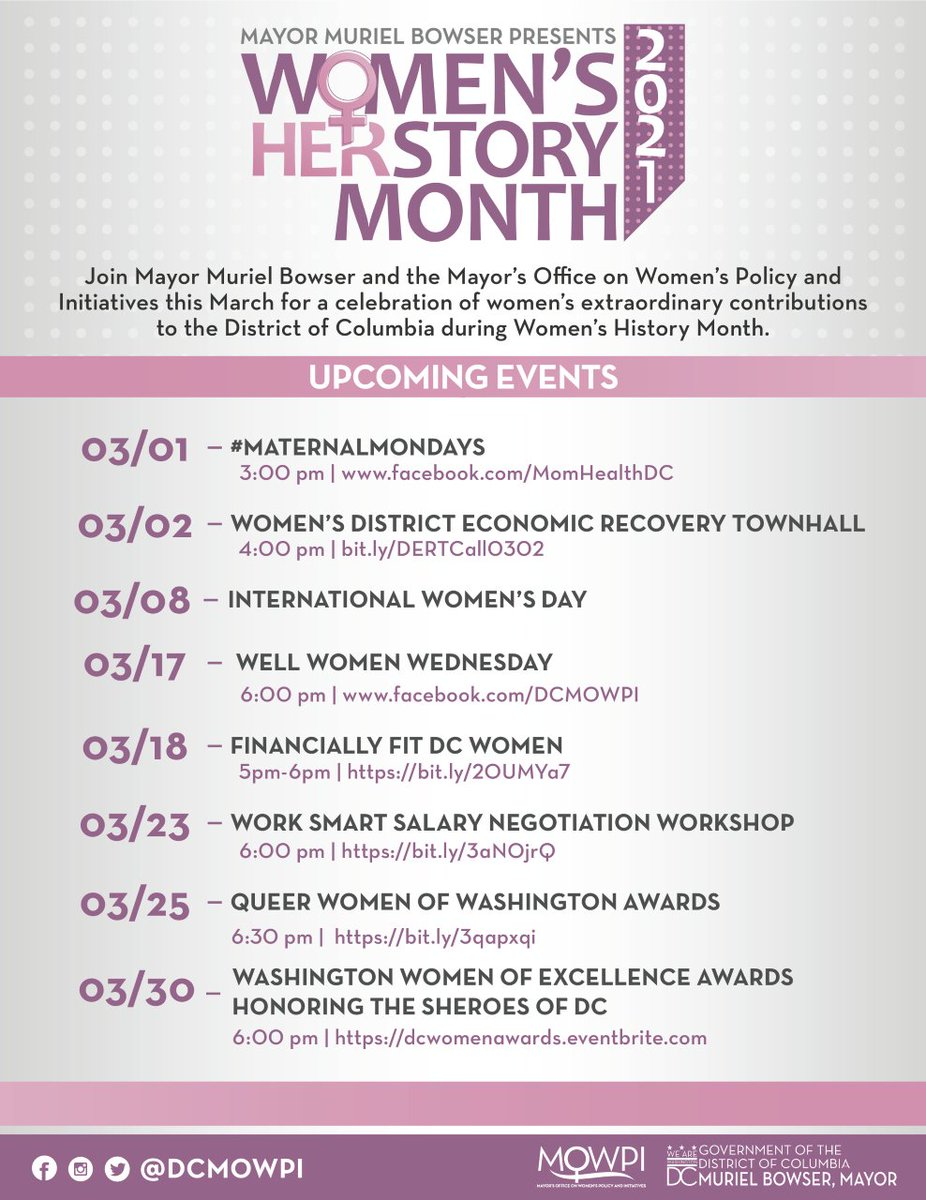 Happy Women's History Month! Join @DCMOWPI all month long for special virtual events and programming curated for DC Women. Check out the list of events you can attend virtually ⬇️