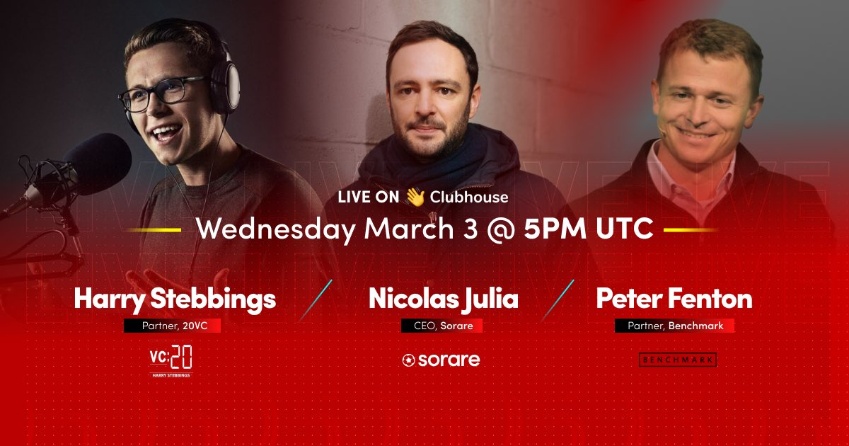 "I'm discussing ""Raising $50m from Benchmark to Change the Game for NFTs"" with @peterfenton and @HarryStebbings. Wednesday, 3 Mar at 6:00 PM CET on @joinclubhouse. Join us!"
