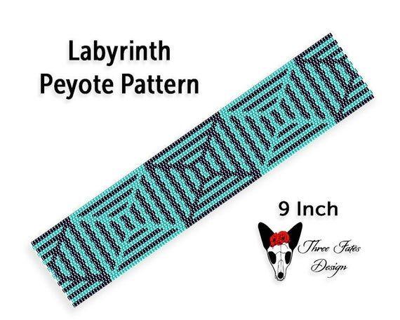 Green Labyrinth Seed Bead Bracelet Pattern Two Drop Even   Etsy   #labyrinth #beaded #bracelet #pattern #threefatesdesign #diy #bookmark #etsyshop