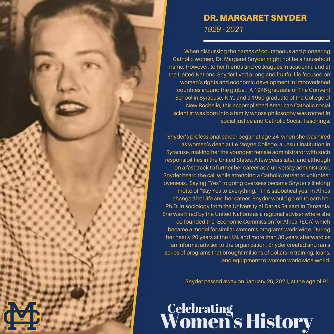 March is Women's History Month. This is provides us with a special opportunity to recognize Catholic women throughout history who have paved the way for future generations. This week we are recognize Dr. Margaret Snyder, known as the UN's first feminist. #WomensHistoryMonth