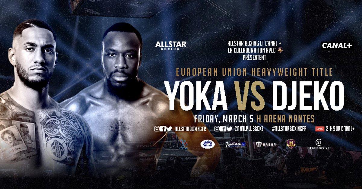 🥊 PROGRAMMING ALERT: Heavyweight contender @TonyYoka returns to action this Friday vs. Joel Tambwe Djeko in a 12-rounder for the vacant European Union title. The #YokaDjeko card will stream live on ESPN+ beginning at 2:40 pm ET.