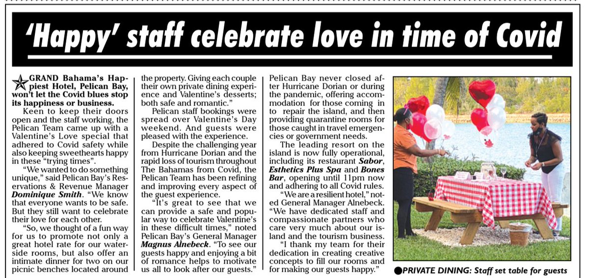 Thank you to #ThePunch for sharing our story on #PelicanBay's #COVIDFriendly #ValentinesDay Celebrations. #PressRelease #Marketing #GrandBahama #HappiestHotel