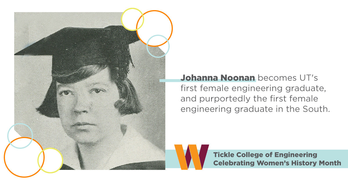 In 1923, Johanna Noonan, of Cookeville, became the first woman to graduate in engineering at @UTK_TCE / @UTKnoxville. She is also credited with being the first woman from the south to graduate in engineering, and was vice president of her senior class. #womenshistorymonth