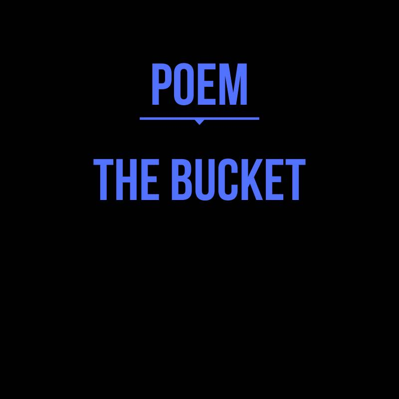 The Bucket 🔩💓 --- A poem by Ethan H. Reynolds --- #writing #fiction #writer #lore #inspiration #art #fantasy #scifi #speculative #fiction #poem #author #writersofinstagram #poet #lore #thelorusatlas #artist #story #graphics #philosophy #idea #inspirational #gods #create