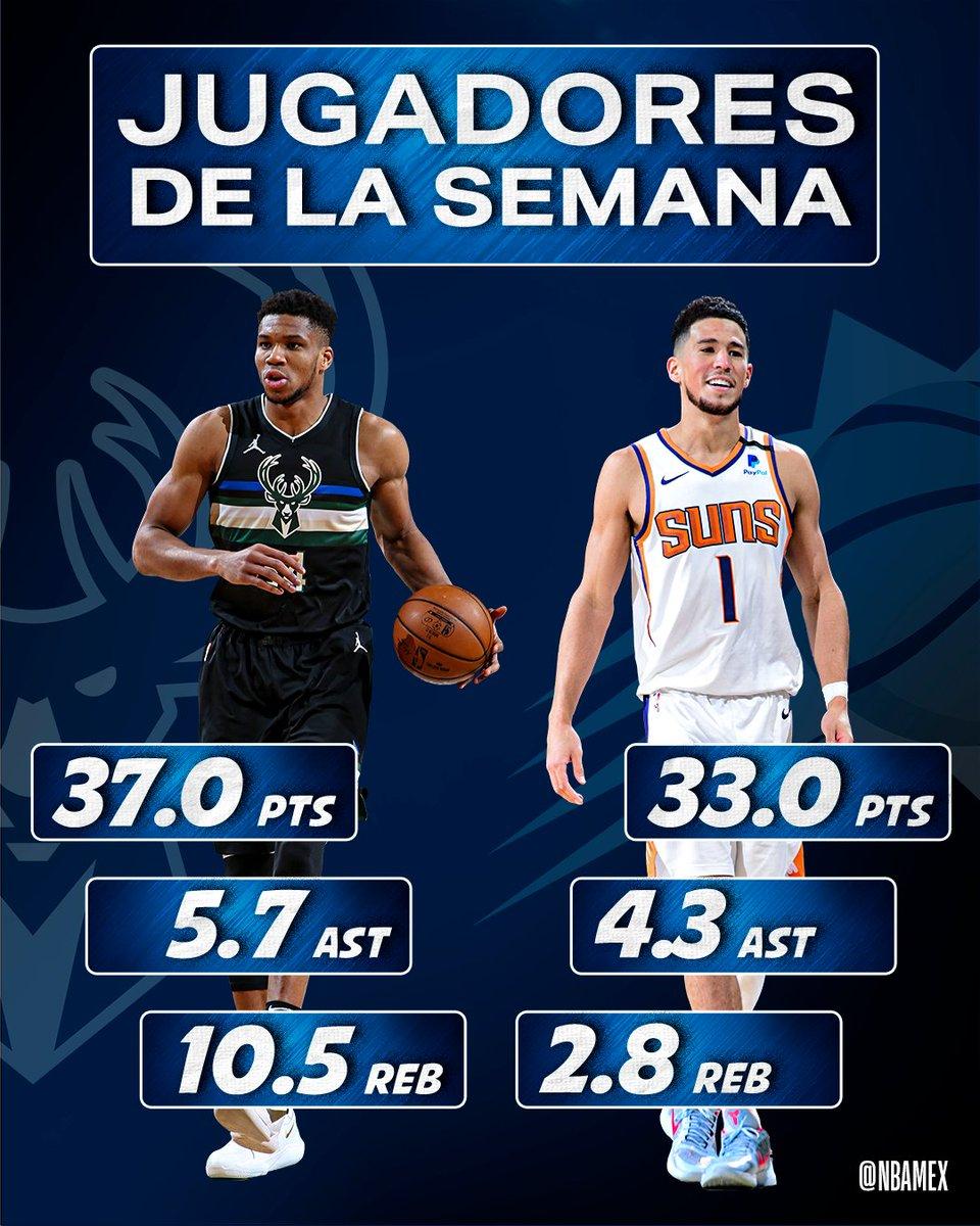 2021-03-01T10:00:58.646Z 🇬🇷  @Giannis_An34 y @DevinBook ☀  son nombrados Jugadores de la Semana y están listos para el #NBAAllStar. 🙌 🤩 🏀