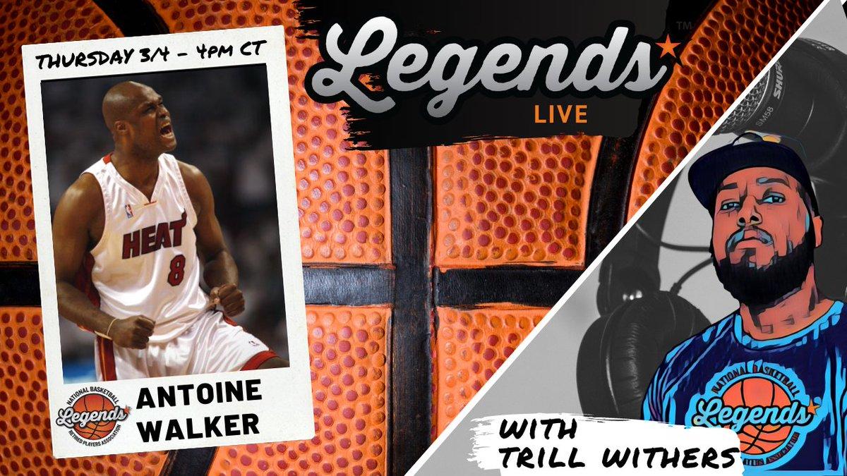 Next up on #LegendsLive with @TylerIAm   @WalkerAntoine8  ▪️ 3x #NBAAllStar  ▪️ #NBA Champion ▪️ #NCAA Champion  Thursday 3/4 4pm CT right here on @NBAalumni Twitter