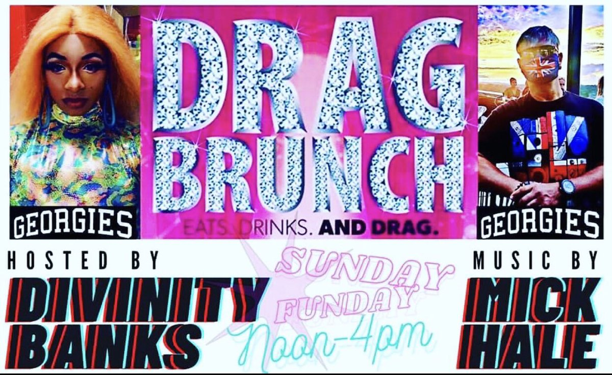 Sun, 3/7! 12pm-4pm! @georgiesbarap Sunday Drag Brunch hosted by Divinity Banks! Music by @djMickHale ! Special Guest R Hedd R Humm! Kitchen OPENs at 12pm w/ special brunch menu! #georgiesbarap #asburypark #sundayfunday #dragbrunch #gaybar #lgbt