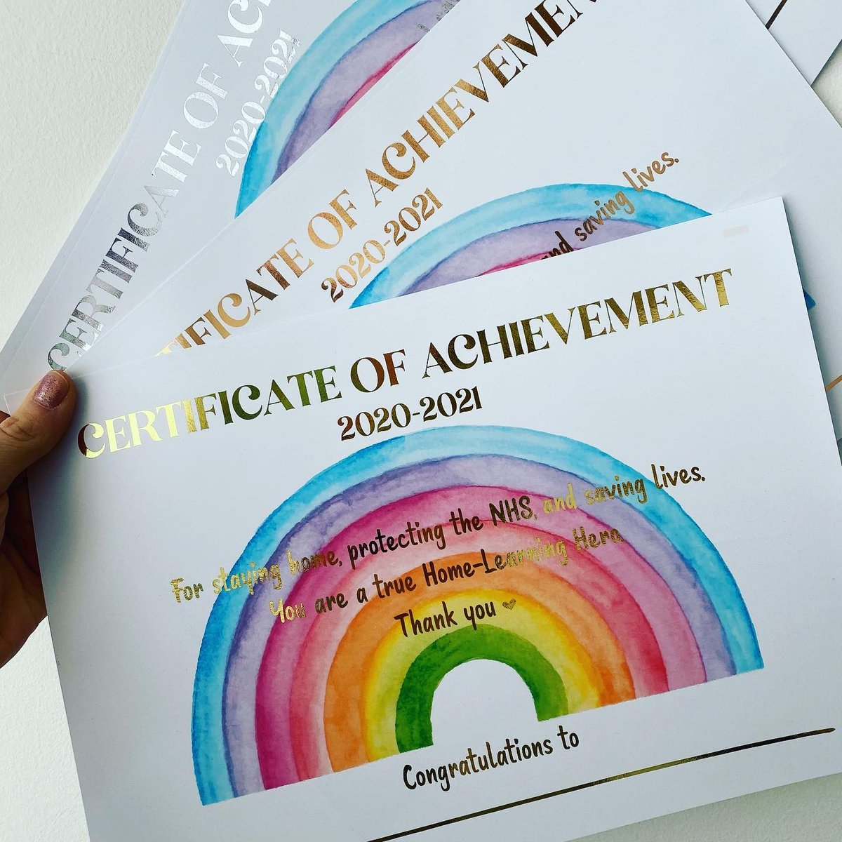 Celebrating the end of home learning with Lockdown Certificates 🌈 available in gold, silver and rose gold. (£5 each) I think the parents deserve one too... only 7 more sleeps to go!  #knaresborough #harrogate #homeschooling #nearlythere #lockdown2021 #shopsmall #shoplocal
