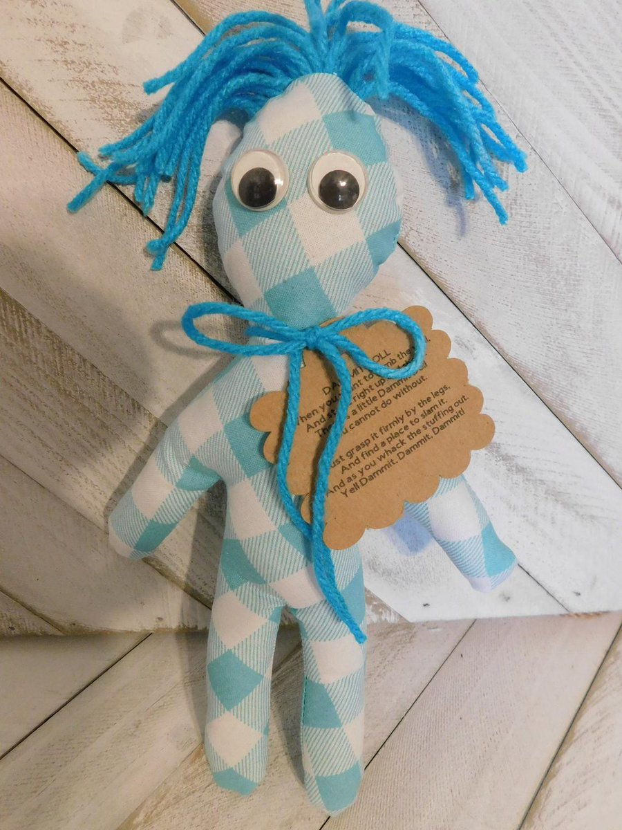 Teal Plaid Dammit doll, 100% Ugly, Teenager Tested, Parent Approved, Gift Idea, Party Favor Doll #YouLaughed #tealplaiddammitdoll #handmadewithlove #aggressiondoll #frustrationreliever #giftidea #partyfavordoll #shopetsy #shopsmall