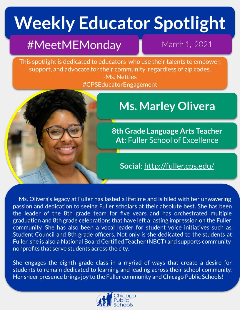 Our Motivational Educator to kick off #WomensHistoryMonth for #MeetMEMonday is Ms. Marley Olivera! She champions the work of students, colleagues, + the Fuller community with unwavering passion + dedication.  #TheBestAreWithCPS @CPSLiteracy @AUSL @ChiPubSchools