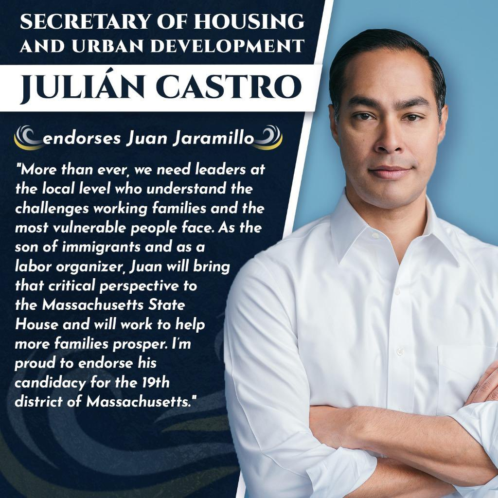 Im deeply honored and humbled to earn the support of @JulianCastro - his public service career inspired me and millions of proud New Americans. Together we will build an economy that guarantees living wages, housing, and healthcare for all communities. actblue.com/donate/Castro21