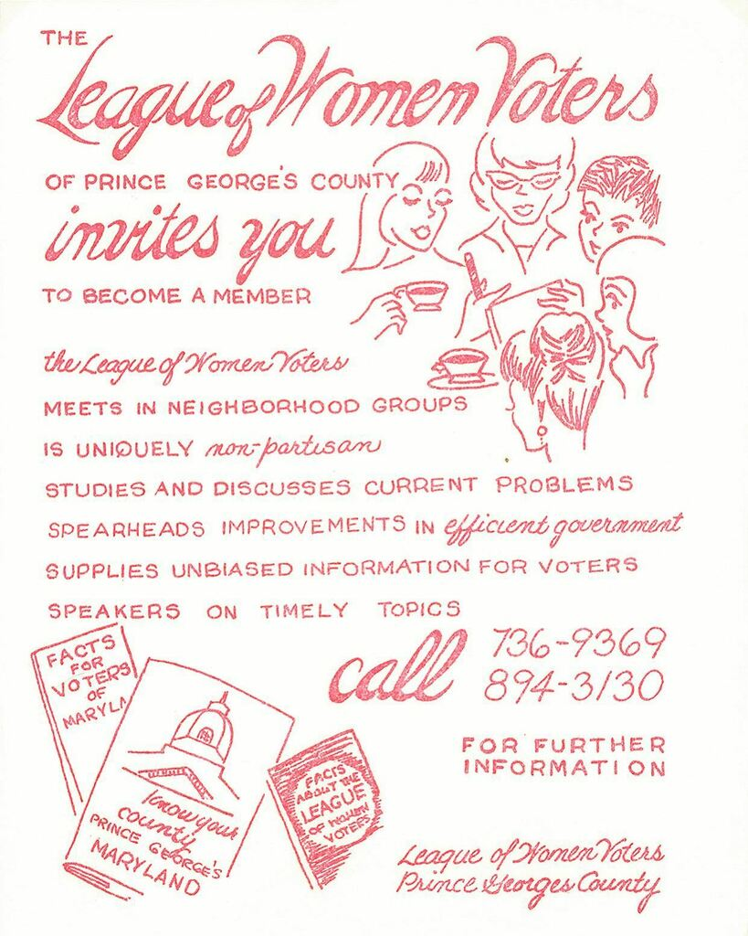 Happy #womenshistorymonth! Throughout March we'll be highlighting items on women's suffrage and voter engagement from our new exhibit: Get Out the Vote: Suffrage and Disenfranchisement in America  This flyer (undated) is from the League of Women Voters of Prince George's Cou…