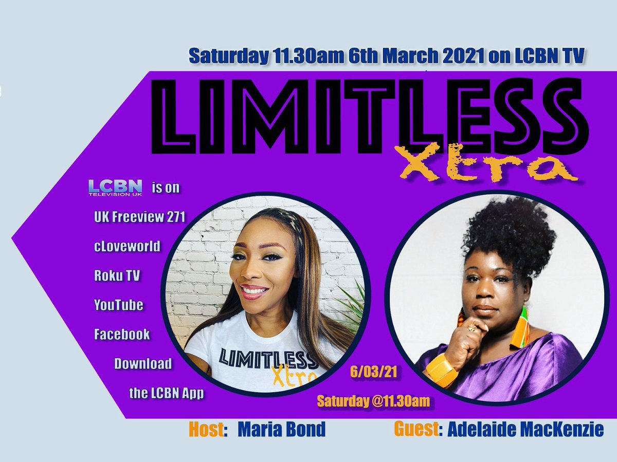 Adelaide Mackenzie, (founder of 'Blessed Souls') joins me on Limitless Xtra this Saturday the 6th of March @11.30am on LCBN TV.   #adelaidemackenzie #lcbntv #gospelmusic #club #scripture #knowledge #power #blessed #soul #talkshow #saturday #saturdayvibes #christian #christ #jesus