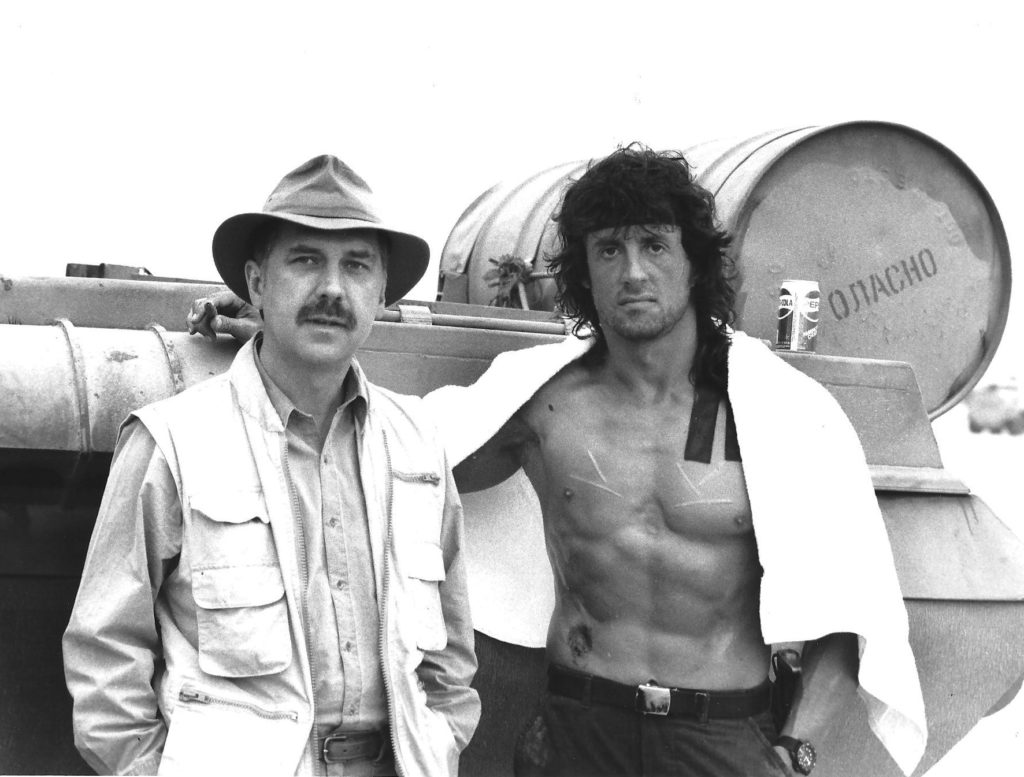 "David (author of First Blood) on set with ""Rambo"" @TheSlyStallone - if you want to join us for a conversation with New York Times best selling novelist and screenwriter David Morrell email writerszoom@yahoo.com.  #writerslift #WritingCommunity #amwriting #writer #pipelinewriters"