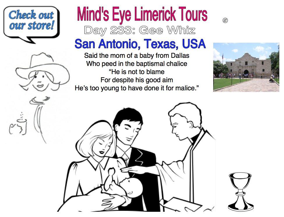 #Limerick #entertainment #humor #store #SanAntonio #Dallas #Texas #mom #baby #baptism #whiz