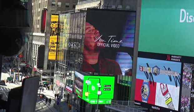 """My video for """"You Time"""" played on the @CMT billboard in @TimesSquareNYC this past weekend. Almost like being on a movie screen. 👍💥😀. Watch the video here:"""