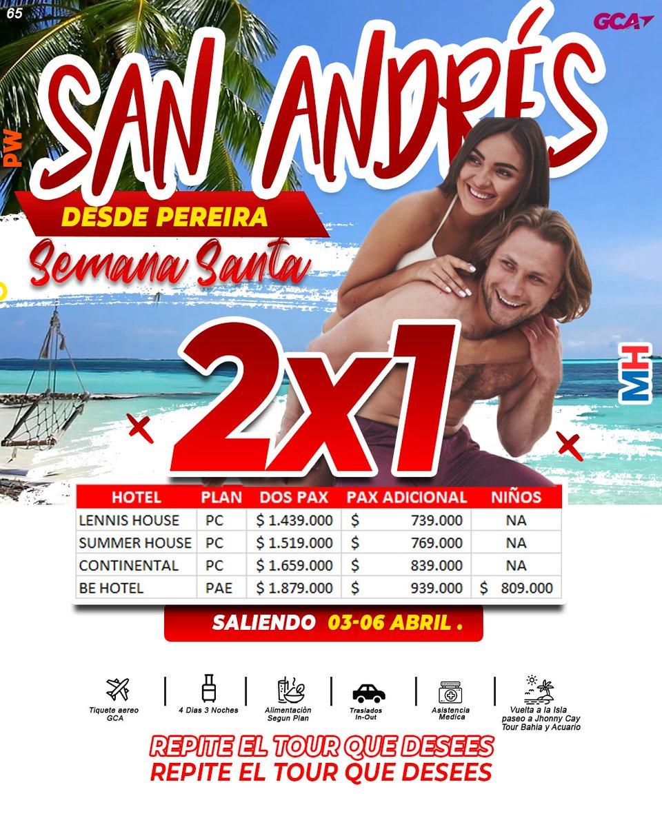 San andres 🇨🇴☀️ desde pereira 2X1 todo incluido del 3 al 6 de #Abril   Tiquetes ✈️ Transporte 🚙 Hotel  3 noches🏩 Asistencia 🚑 4 paseos 🌞🌴 #SanAndres #SanAndresEnElCorazon #FelizDomingo
