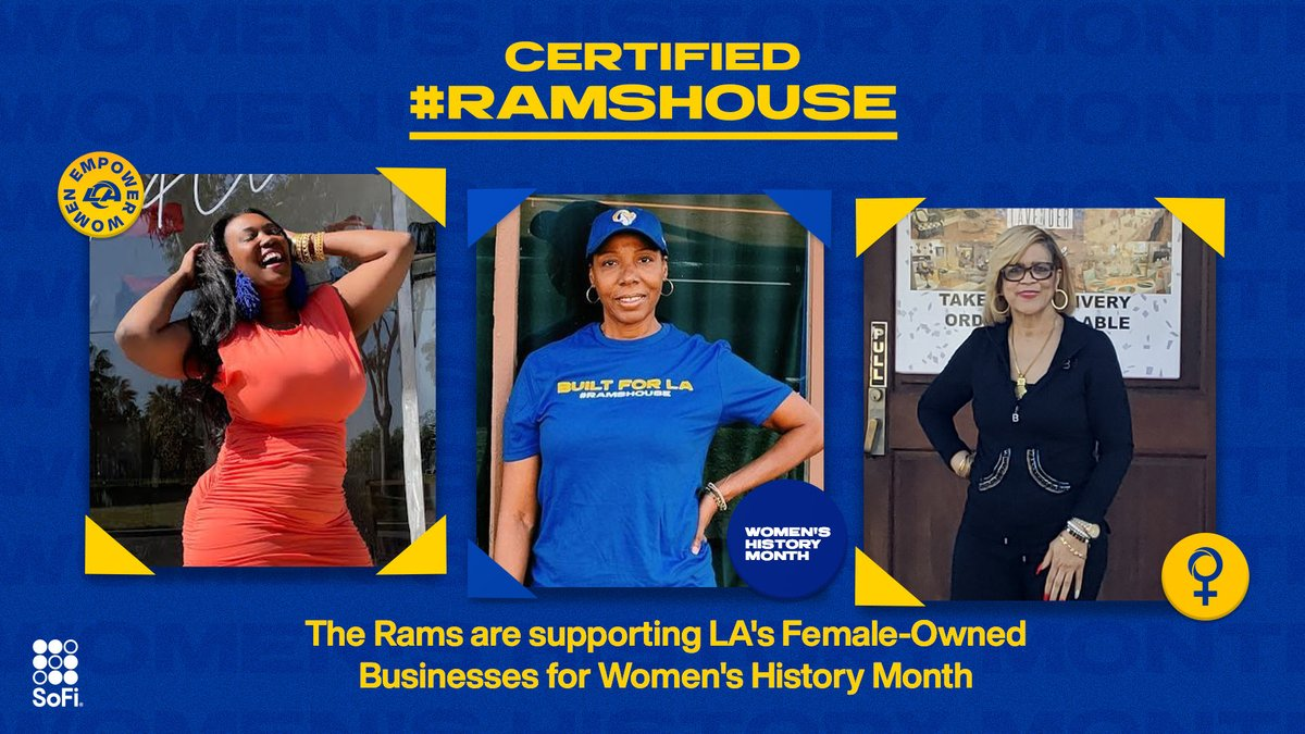 Happy #WomensHistoryMonth! We've partnered with  to spotlight female-owned businesses every Friday in March.  We've also expanded the Certified #RamsHouse program! Apply now »