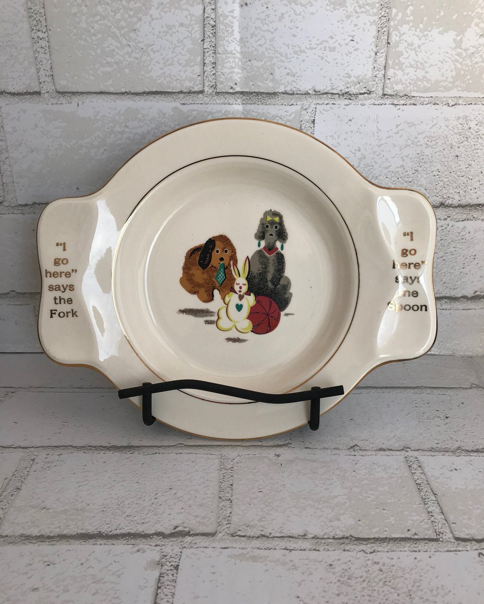 Excited to share the latest addition to my #etsy shop: My Own Plate, Made for Holmes and Edwards, International Silver Company / Child's Plate / Puppies / Fork and Spoon Plate  #silver #ceramic #spponandfork #childsplate #dinner #supper #baby #to