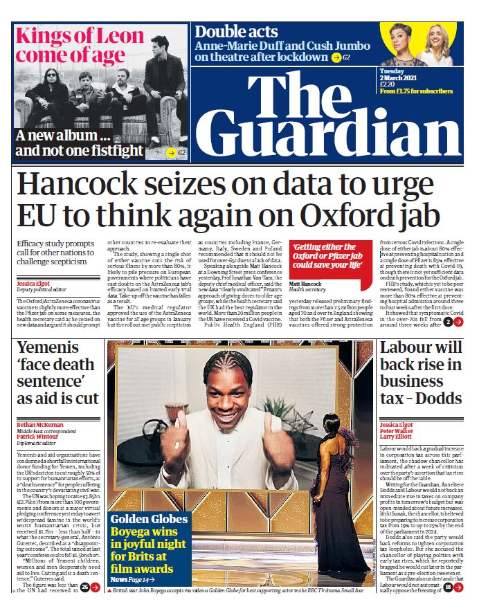 "Tuesday's Guardian: ""Hancock seizes on data to urge EU to think again on Oxford jab"" #BBCPapers #TomorrowsPapersToday"