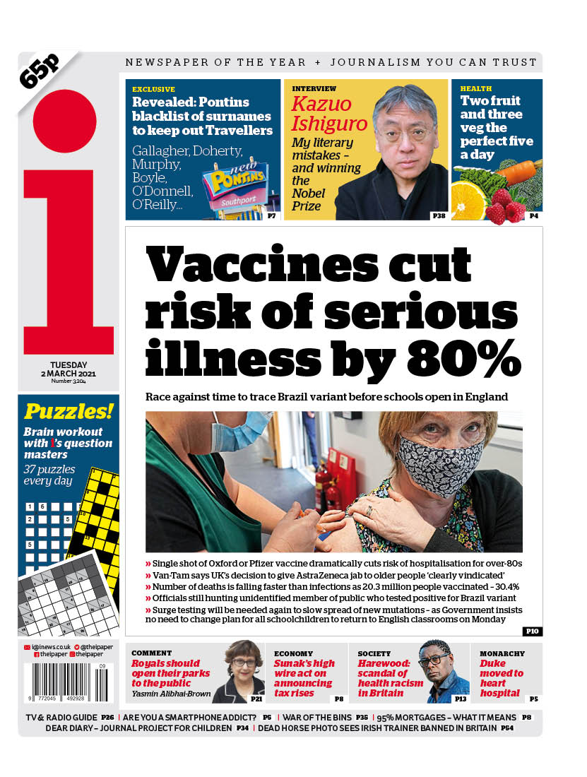 "Tuesday's i: ""Vaccines cuts risk of serious illness by 80%"" #BBCPapers #TomorrowsPapersToday"