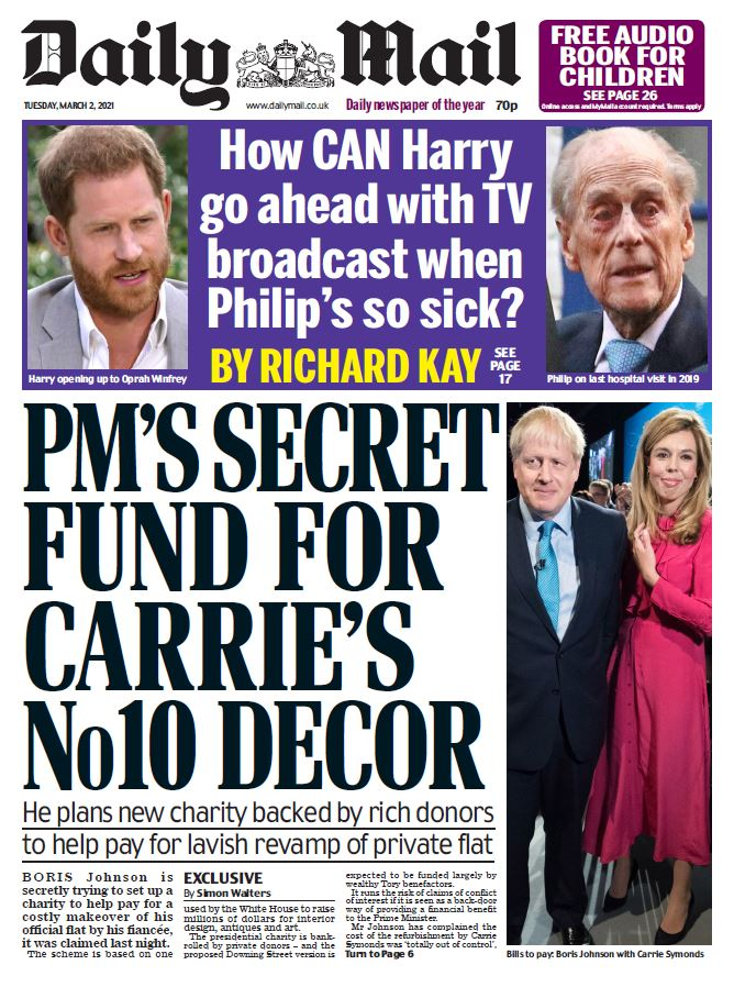 "Tuesday's Mail: ""PM's secret fund for Carrie's No 10 decor"" #BBCPapers #TomorrowsPapersToday"
