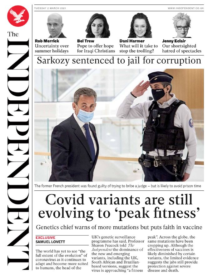 "Tuesday's Independent: ""Covid variants are still evolving to peak fitness"" #BBCPapers #TomorrowsPapersToday"