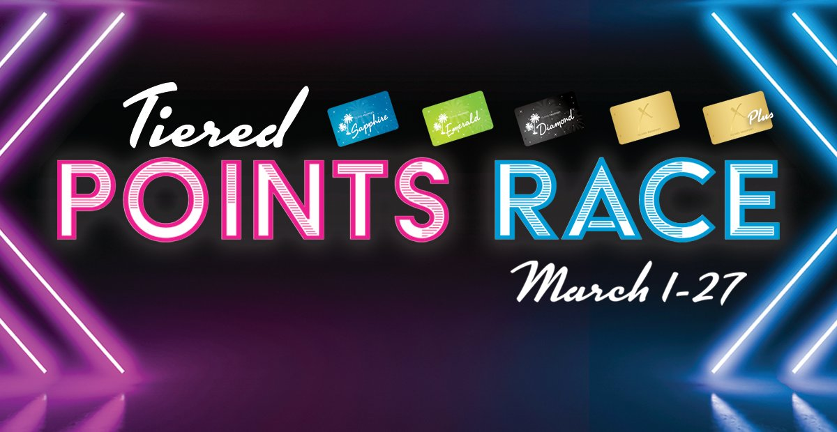 Earn as many points as you can playing slots with your Island Passport Club card from March 1-27 for your chance to win up to $15,000! Check  on March 28 @ 12pm to see if you're on the list. If you won, visit Promotions March 28-31 to redeem your prize.