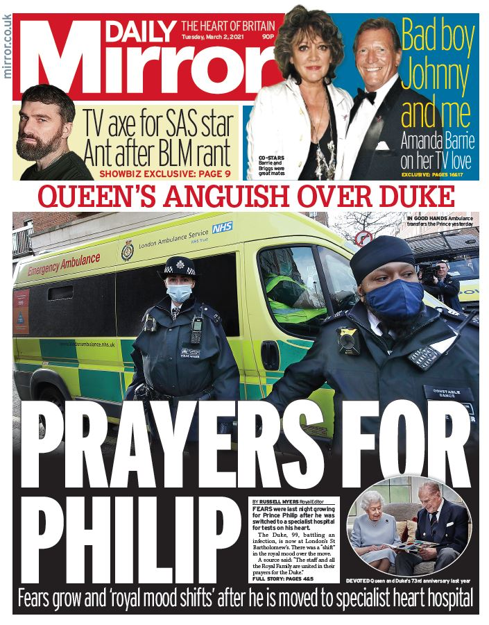 "Tuesday's Mirror: ""Prayers for Philip"" #BBCPapers #TomorrowsPapersToday"