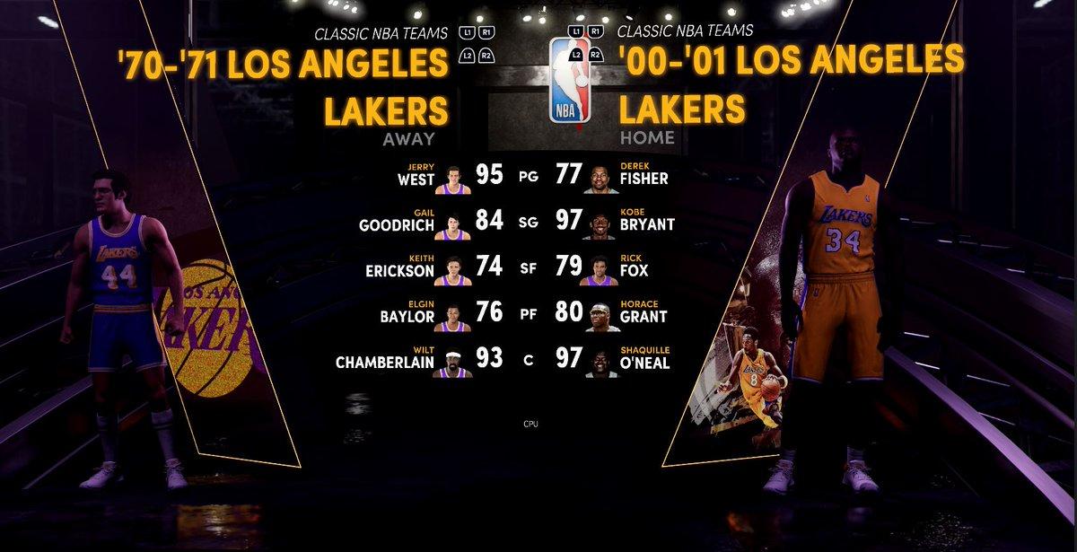 1970-71 LA Lakers vs 2000-01 LA Lakers - Legendary NBA Fantasy Matchup  Watch Now:   Imagine Wilt vs Shaq and Jerry West shooting over Kobe.  #Kobe #Shaq #Wilt #XBoxSeriesX #PS5 #NBA2K21 #NBA #Lakers #History #NBAHistory #NBASimulation #NBAGreats #XBox