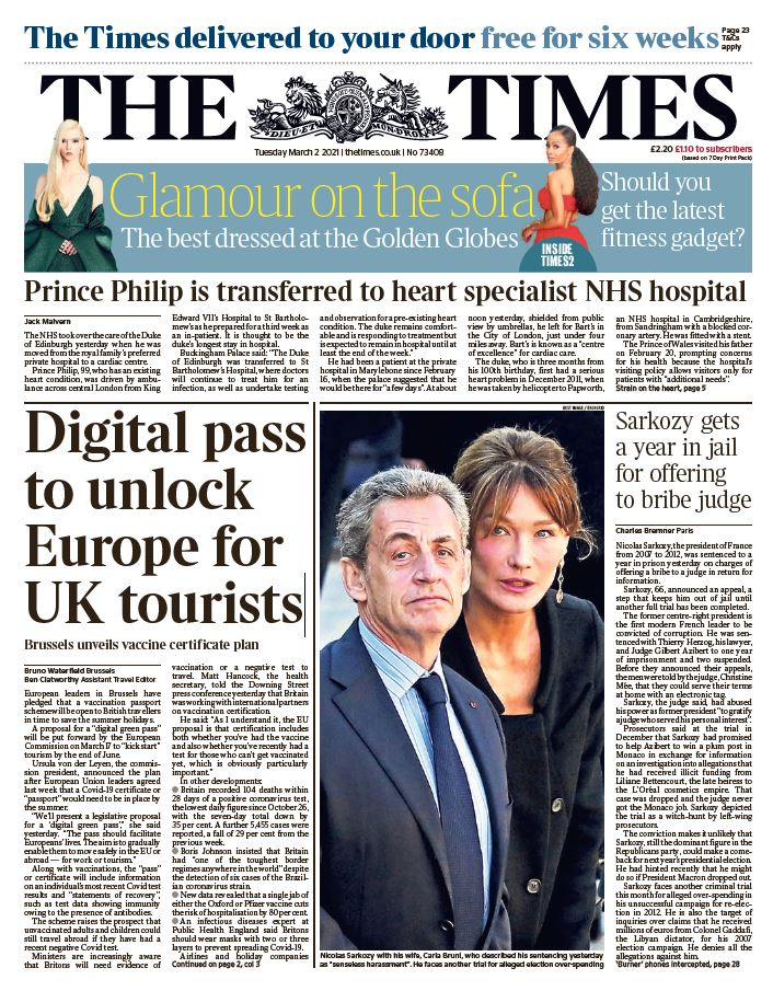 "Tuesday's Times: ""Digital pass to unlock Europe for UK tourists"" #BBCPapers #TomorrowsPapersToday"
