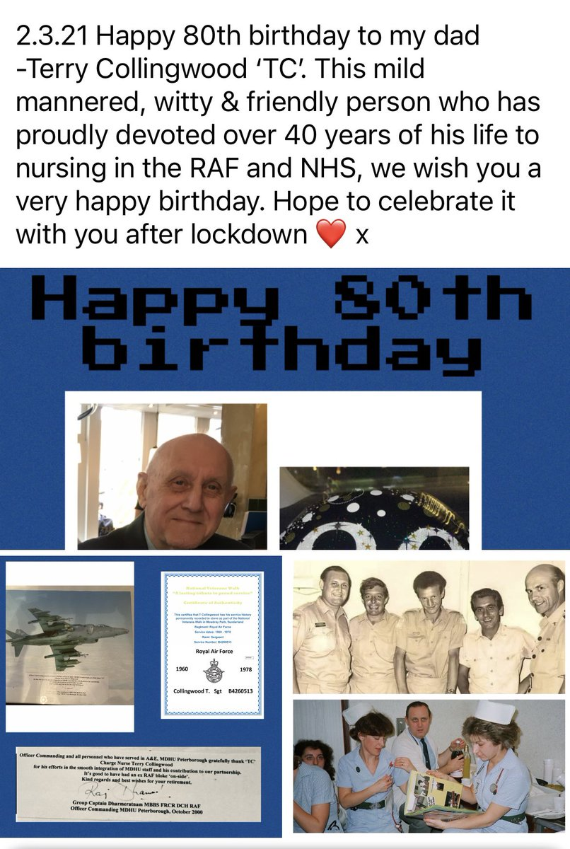 2.3.21 Unable to spend my dads 80th with him. He's devoted 40+ years to nursing, in the RAF & NHS. Hoping to celebrate latterly. Wondering if we can get him 80 likes or RT from around the world to show him when we meet next? @CNOEngland @VeteransGateway @DefenceHQ @DHSCgovuk
