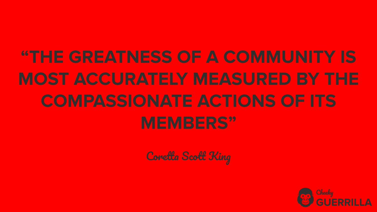 """The greatness of a community is most accurately measured by the compassionate actions of its members"" - Coretta Scott King  #CorettaScottKing #CorettaScottKingQuote #InspirationalQuote #Inspiration #InspirationalGuerrilla #Community #CommunityGuerrilla #BeMoreGuerrilla"