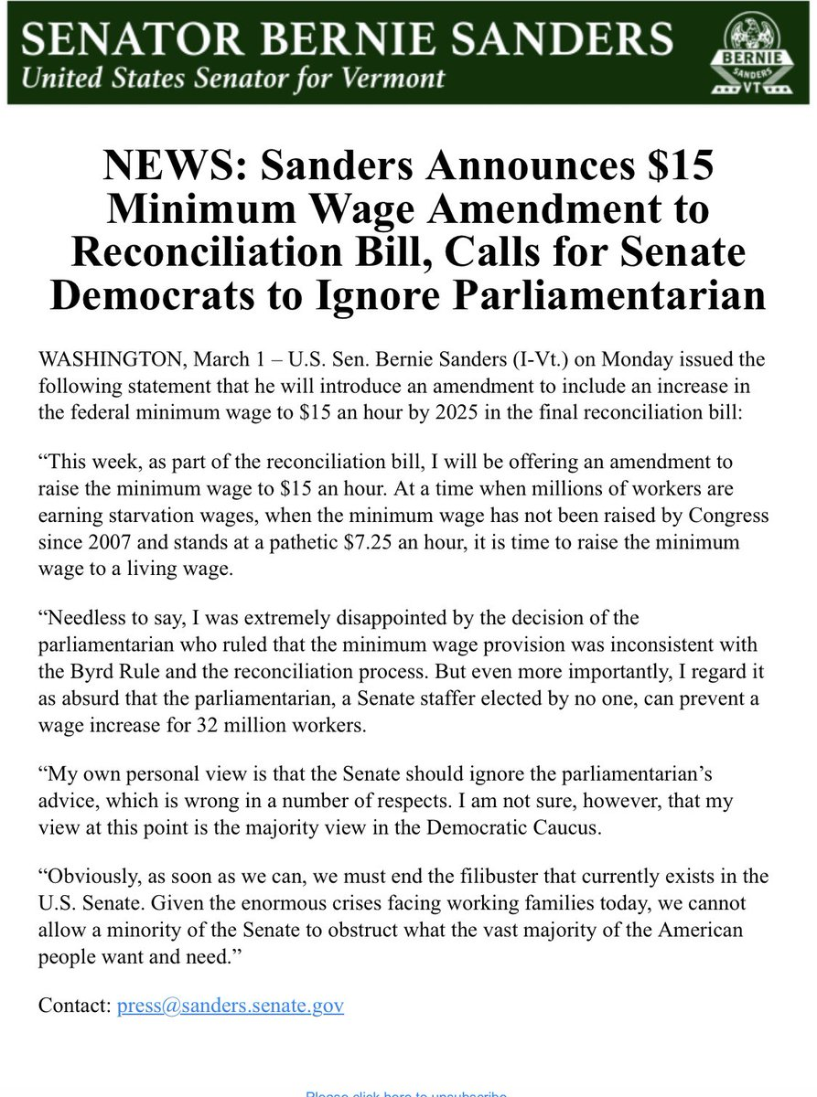 """.@SenSanders makes it official that he will offer an amendment to increase the minimum wage to $15 an hour- with the goal of """"ignoring"""" the parliamentarian."""