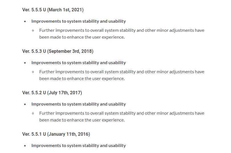 Nintendo Wii U actualización parche marzo 2021 5.5.5. U