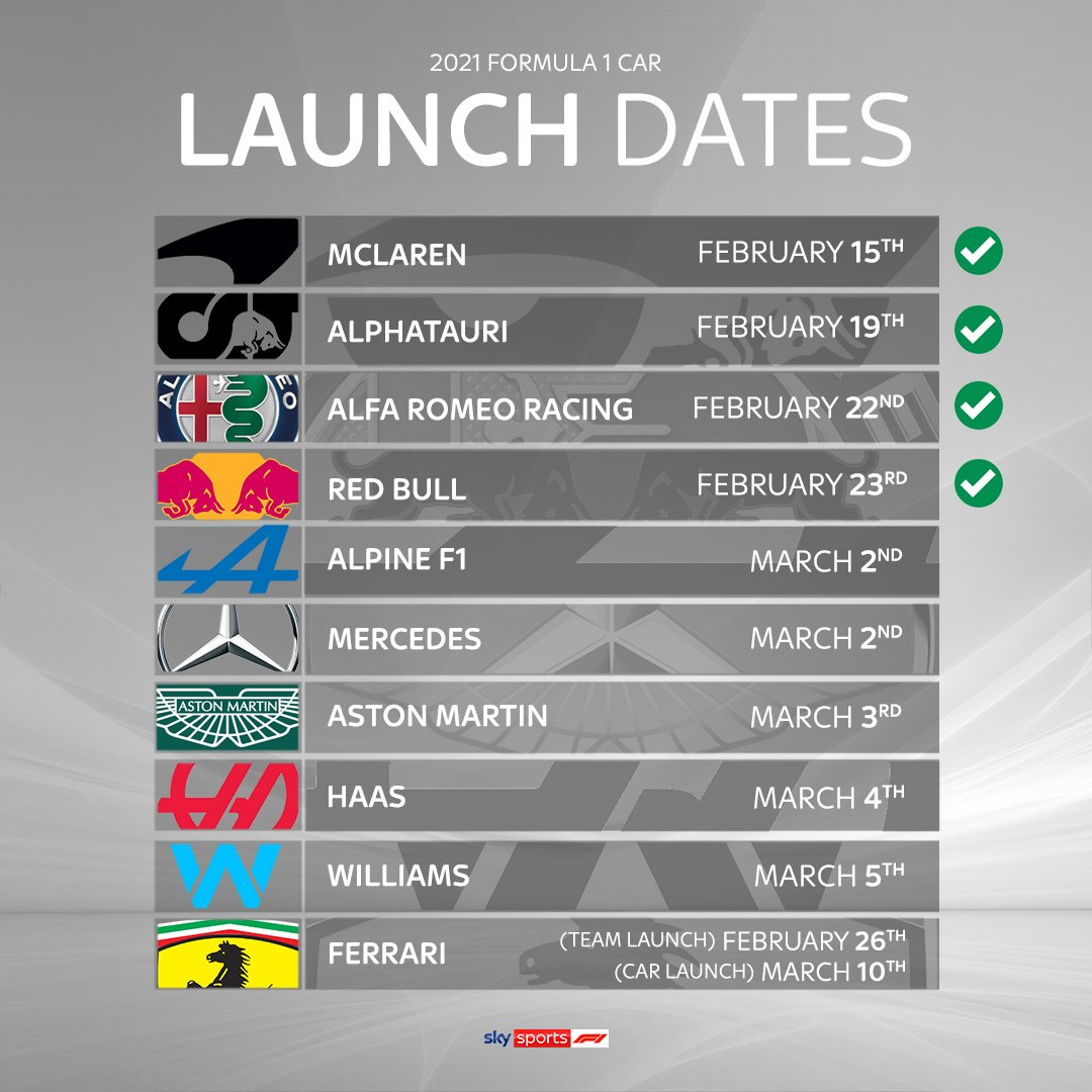 Watch both today's launches on #SkyF1 and digital platforms 🙌  @MercedesAMGF1 ➡️ 11am @AlpineF1Team ➡ 3pm  And we're also showing @AstonMartinF1's event live tomorrow at 3pm too!  #SkyF1 | #F1