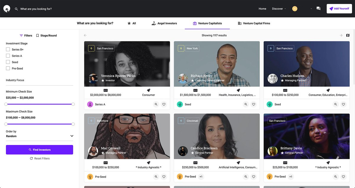 1st look at 's Discover page. Added @VPinVC @kerby @chudson @MacConwell @CandiceBrackeen @iBrittDavis @EqualVentures @Backstage_Cap @willinvestsvc @sydneypaige10 @sarahkunst #BlackTechTwitter #BlackTwitter #VC #investors #startups #uxdesign #founders