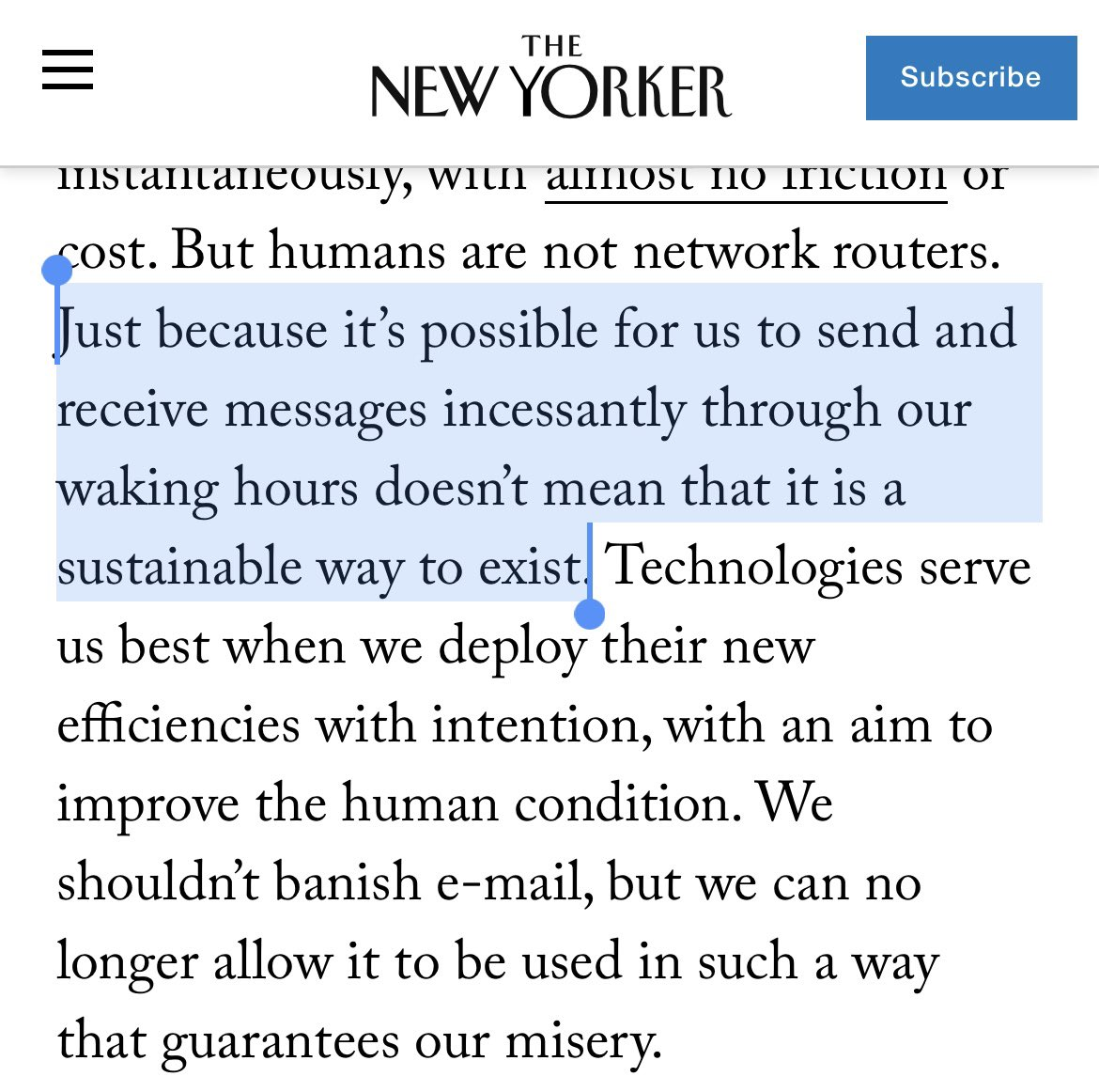 Is there anyone who this doesn't resonate for? Applies to messaging, not just email. Work communication needs to be human (back to synchronous?) because the torrent and anxiety of async is crushing us and our relationships.