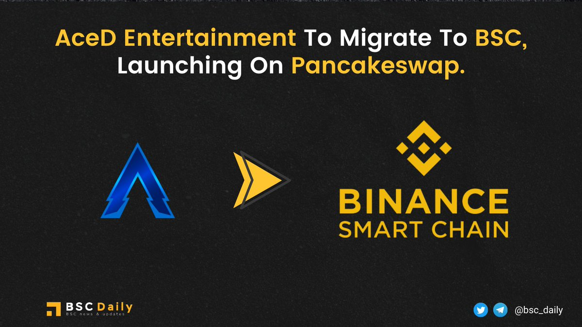 AceD has confirmed to migrate to #BSC network.  All liquidity of @AceDCoin $ACED will be removed from #Uniswap and added on #Pancakeswap at launch.  Coming along with the change will be farming and a new CEX listing. Good move to get rid of the unbelievable fees!