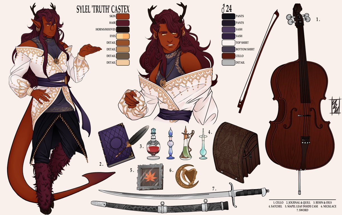 Reference sheet for @/bardmagical's Tiefling boy Truth! 🎶  #dnd #DnDcharacter