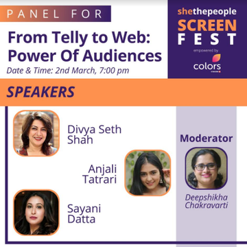 Join SheThePeople's Screen Fest today from 5 pm onwards on our Facebook and YouTube channel to catch the empowering journey of these actors @maanvigagroo @renukash @sukirtiofficial @NimritAhluwalia @ATatrari Agenda -