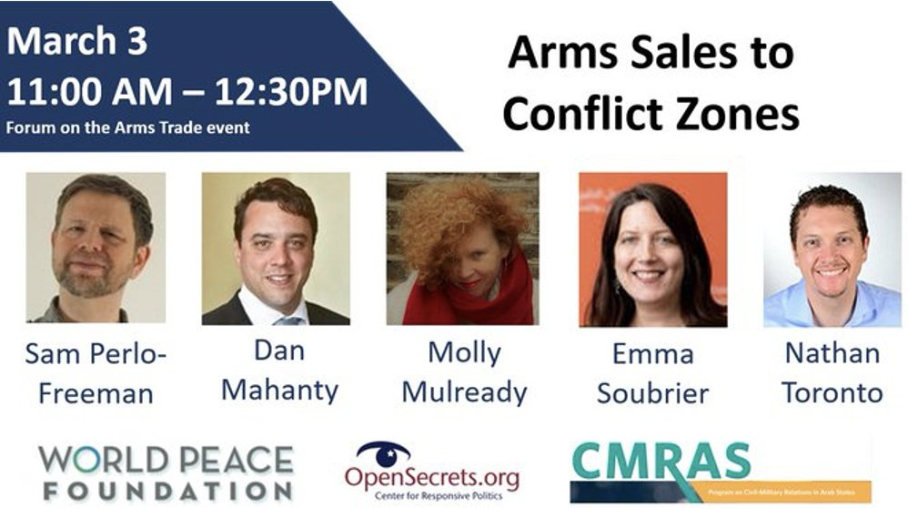 """.@WorldPeaceFdtn is hosting a discussion on March 3 about the launch of """"Business as Usual: How major weapons exporters arm the world's conflicts,"""" the initial report of a 2 year project examining defense industries, foreign policy and armed conflict:"""