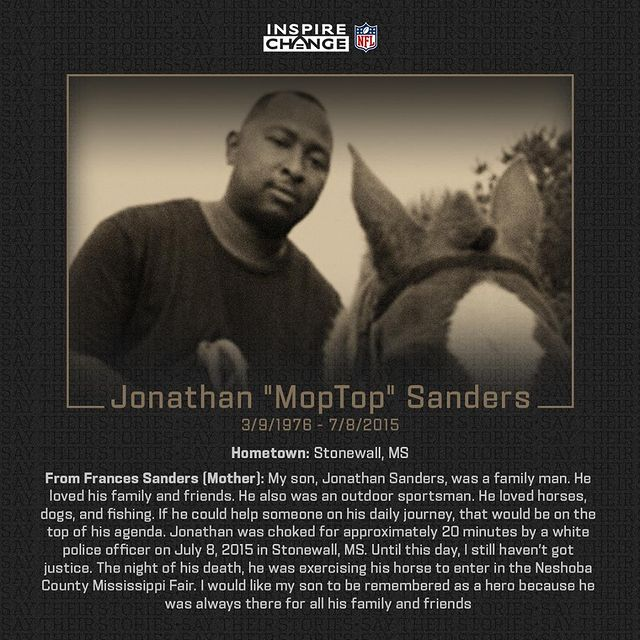 """Say His Name: Jonathan """"MopTop"""" Sanders  Jonathan is one of the many individuals being honored by players and coaches in the 2020 season through the NFL's helmet decal program.  #SayTheirStories:"""