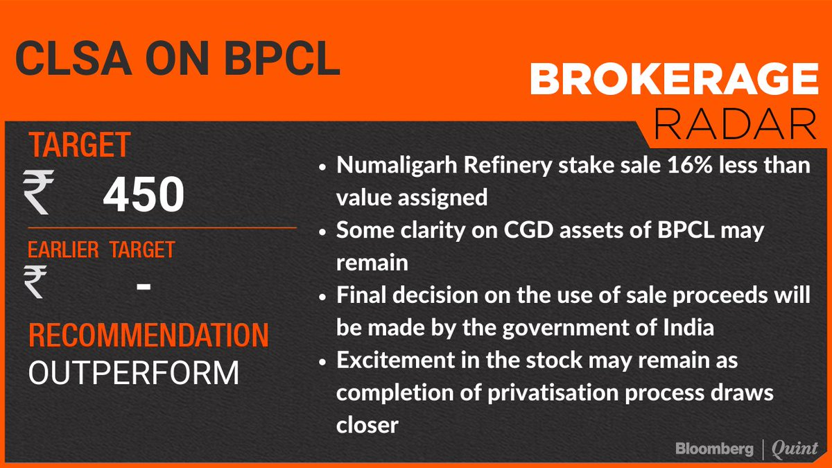 Replying to @BloombergQuint: Brokerage calls this morning!   Read: