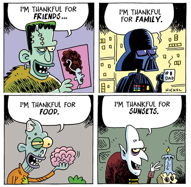 #Thankful #cartoon #Zombie #frankenstein #DarthVader #vampire #humor