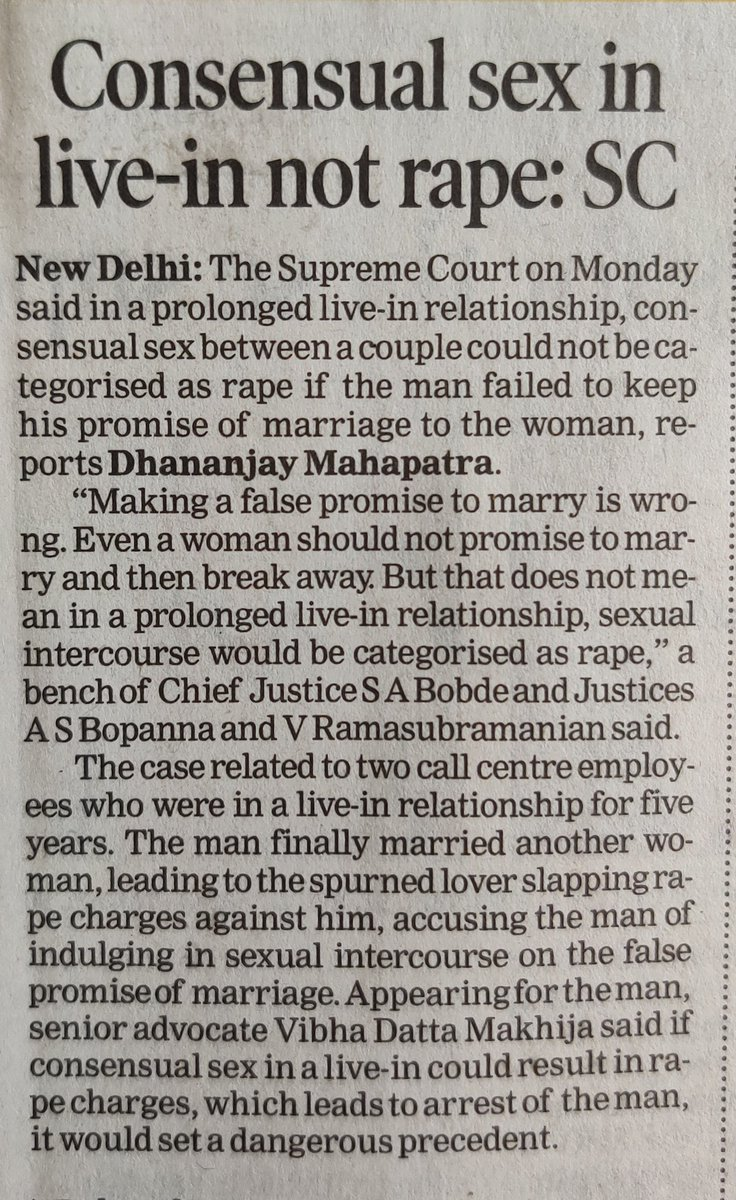 #goodmorning #india #supremecourtofindia ALERT !!! For all those #spurned #partners #lovers who are planning to file false #rape #sexualharrament accusations on your partner, plan something else as #cheating on pretext of #marriage allegations will not #help. #timesofindia