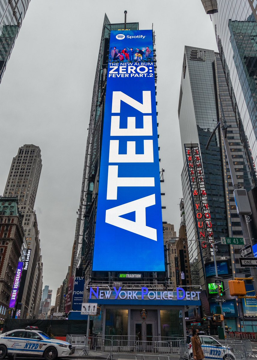[📷] ATEEZ lighting up Times Square with #FEVER_Part2 ! Thank you @Spotify 💙🤍  Stream #Fireworks :   #ATEEZ #에이티즈
