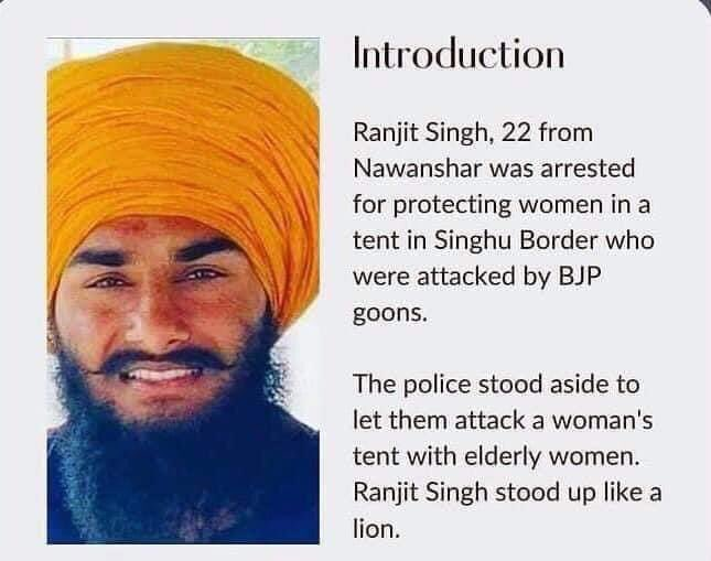 He stood up like a lion and now jailed FOR WHAT REASON?? To protect the tent of women from rioters attack., height of injustice., speak for him #JusticeForRanjitSingh  #किसान_हक_लेकर_रहेगा