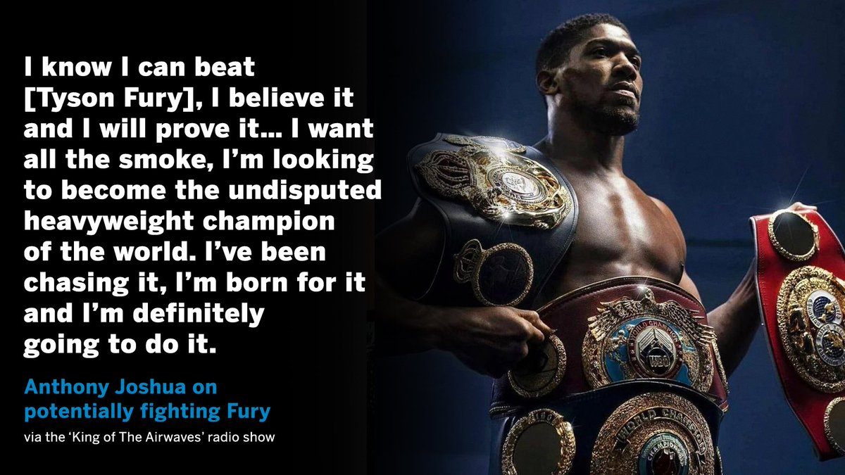 In case anyone doubted it, @AnthonyJoshua made it clear that he wants ALL THE SMOKE 💨