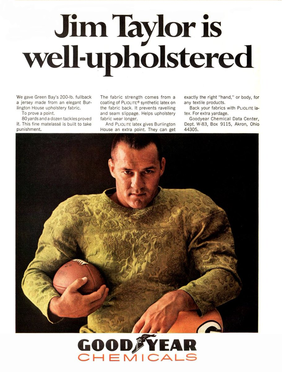 """A TIME magazine ad from November 11, 1966. Jim Taylor was called many things, but this is the first time we've seen him labeled as """"well-upholstered."""" . #greenbay #packers #gopackgo  #titletown #lambeaufield #nfl #jimtaylor"""